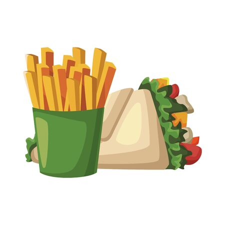 wrap and french fries icon over white background, fast food design, vector illustration Archivio Fotografico - 133642438