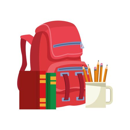 school backpack with books and mugs with pencils over white background, vector illustration