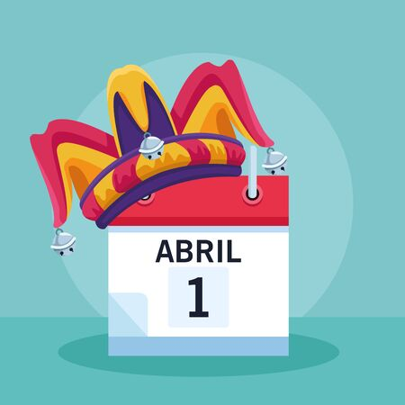 April fools joke cartoon planner with jester hat vector illustration graphic design