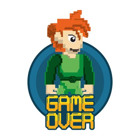 video game pixelated warrior with game over message vector illustration design Ilustrace