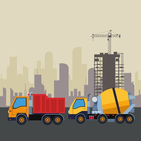 Construction vehicles truck and cement truck machinery in construction zone with crane scenery vector illustration graphic design