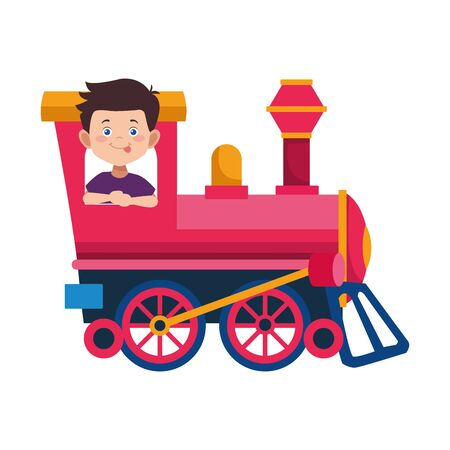 happy boy in a train icon over white background, colorful design. vector illustration