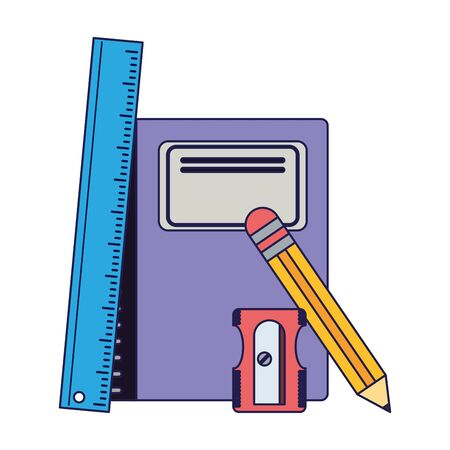 School utensils and supplies ruler and sharpener with book Design