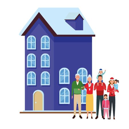 house and family vector illustration graphic design