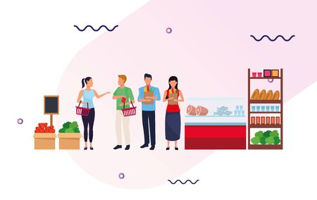 grocery stores with people characters vector illustration design Illustration