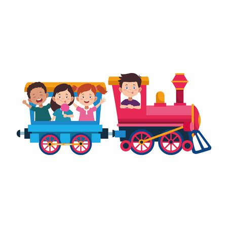 cute kids in a train and wagon icon over white background, vector illustration Stock Illustratie