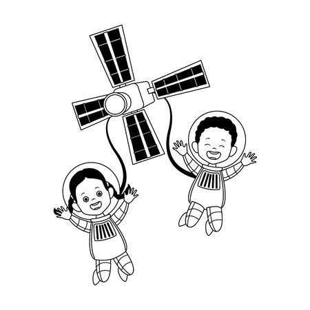 happy astronauts and satellite icon over white background, vector illustration