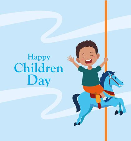 happy children day colorful design with happy boy in a horse of carousel over blue background, vector illustration Foto de archivo - 133665230