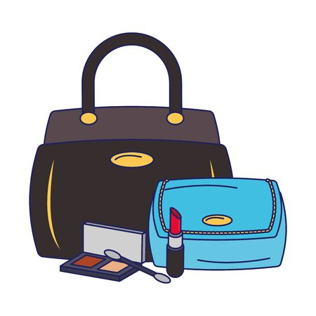 Make up and women fashion bags and lipsticks with eye shadows vector illustration graphic design Illustration