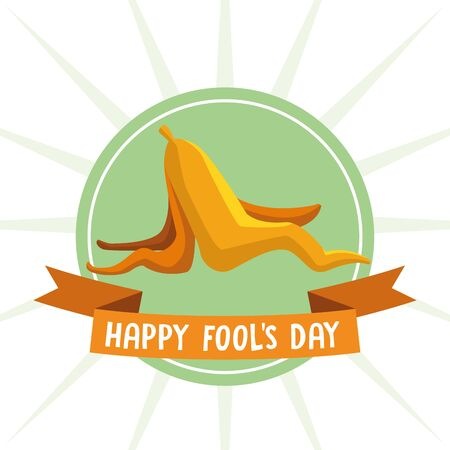 Happy fools day joke cartoon with ribbon banner vector illustration graphic design Reklamní fotografie - 133674655