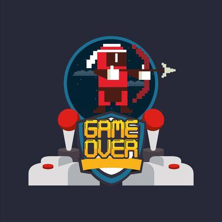 video game pixelated joystick controls and archery warrior vector illustration design