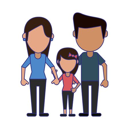 Familyfather and mother with daughter avatar faceless cartoon vector illustration graphic design