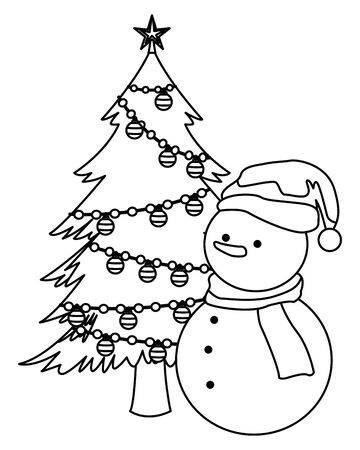 snowman and christmas tree decorated black and white vector illustration graphic design Archivio Fotografico - 133677449
