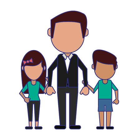 Family avatar father with daughter and son faceless cartoon vector illustration graphic design Stock Illustratie