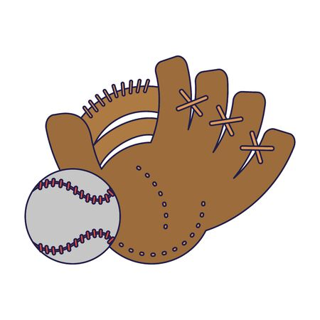 Baseball leather glove with ball cartoon Designe
