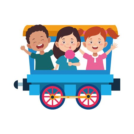 train wagon with cute happy kids over white background, vector illustration