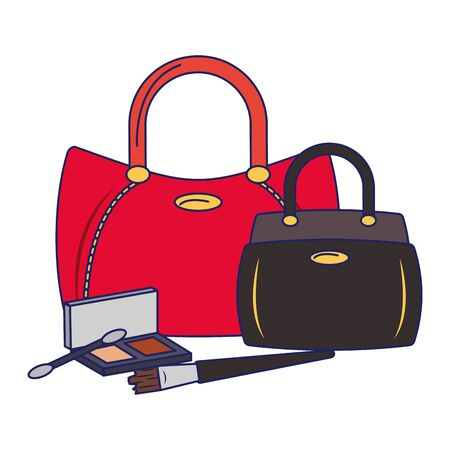 Make up and women fashion bags with eye shadows vector illustration graphic design Illustration