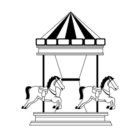 horse carousel icon over white background, vector illustration Foto de archivo - 133677676