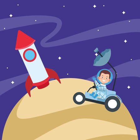 rocket and astronaut boy in a space car in the moon at the space, colorful design. vector illustration  イラスト・ベクター素材