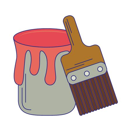 Paint bucket and brush tools vector illustration graphic design