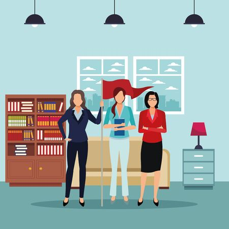 executive business women with success flag cartoon  inside apartment scenery vector illustration graphic design