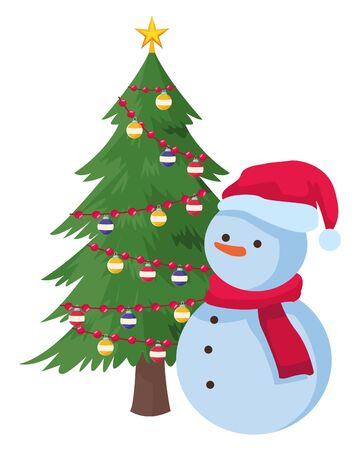 snowman and christmas tree decorated vector illustration graphic design Archivio Fotografico - 133684608