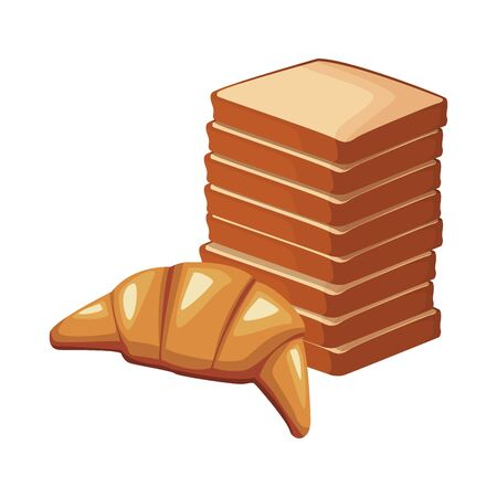 tower of loaves and croissant icon over white background, vector illustration