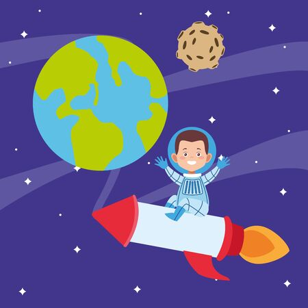 cartoon astronaut boy in a space rocket around the planets over space background, vector illustration