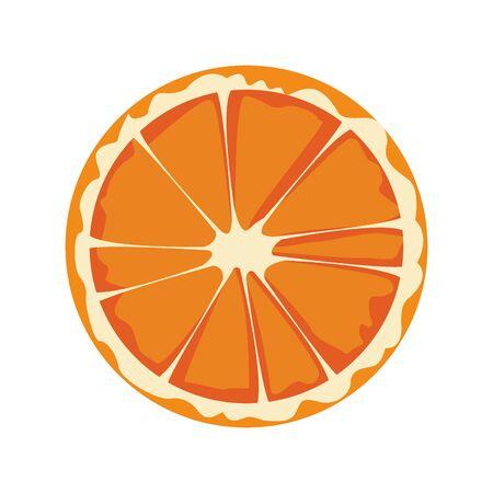 orange slice fruit icon over white background, vector illustration Vettoriali