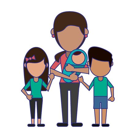 Family mother with kids avatar faceless cartoon vector illustration graphic design Stock Illustratie