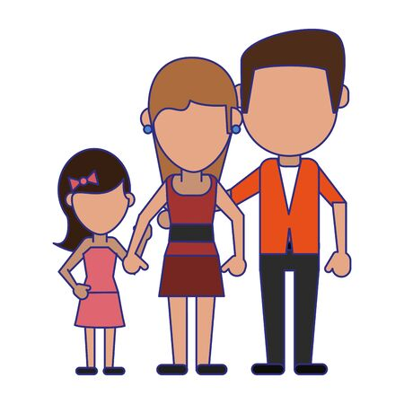 Family avatar father and mother with daughter faceless cartoon vector illustration graphic design