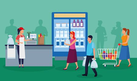 grocery stores with people characters vector illustration design Ilustrace
