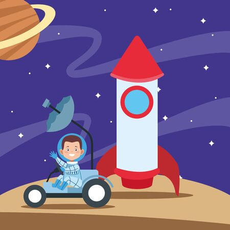 cartoon happy astronaut boy in a space car and rocket over space with planets background, colorful design. vector illustration  イラスト・ベクター素材
