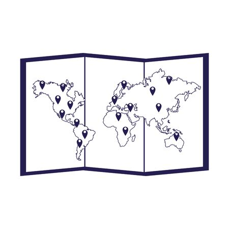 world map icon over white background, vector illustration  イラスト・ベクター素材