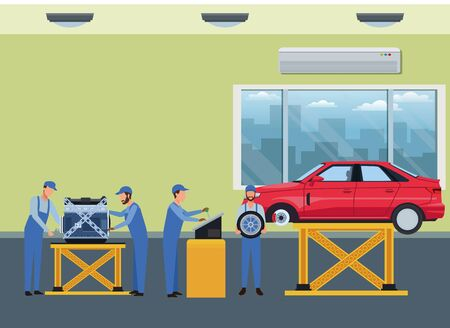 car service manufacturing workers assembling cartoon vector illustration graphic design Ilustracja