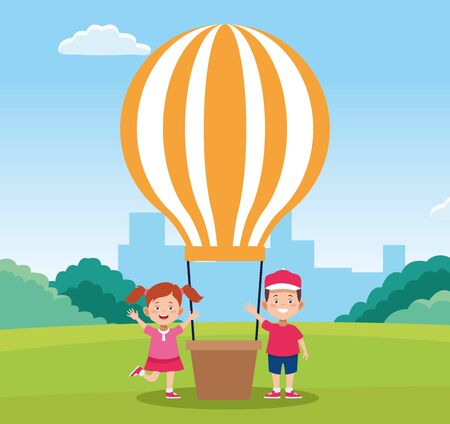 happy children day design with happy boy and girl next to hot air balloon over field background, colorful design. vector illustration