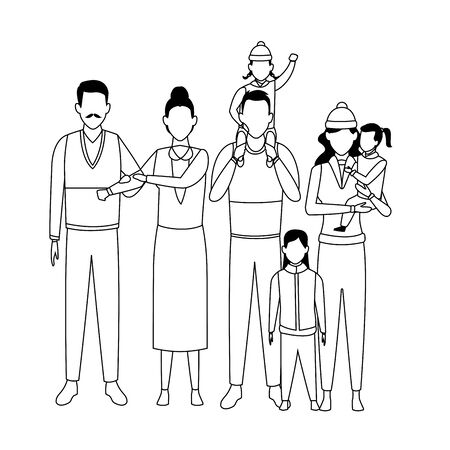 family avatar cartoon character black and white vector illustration graphic design