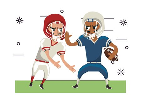american football players playing characters vector illustration design 일러스트