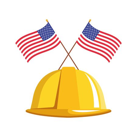 safety helmet with united states of america flags over white background, vector illustration