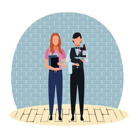 Jobs and professional workers inside building bricks wall and wooden floor vector illustration graphic design Ilustracja