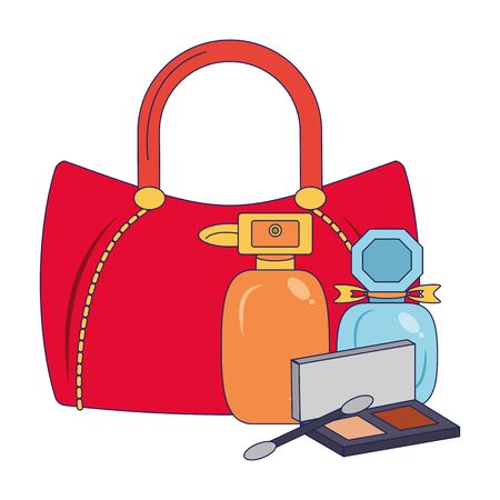 Make up and women fashion bag with perfumes and eye shadow vector illustration graphic design Standard-Bild - 133972763