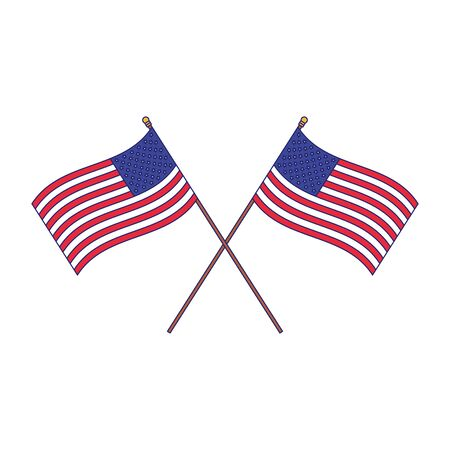 united states of america crossed flags over white background, vector illustration