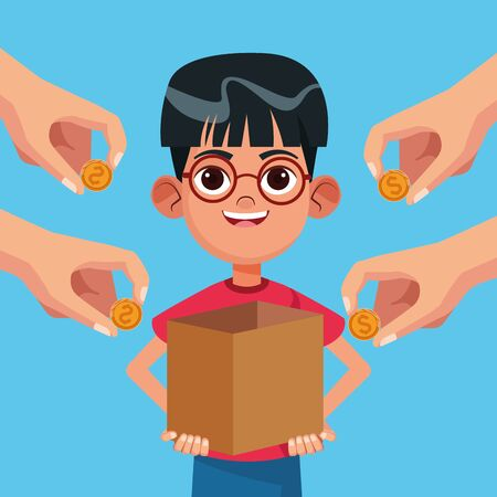 Kid donation charity boy with box and hands giving coins cartoon vector illustration graphic design