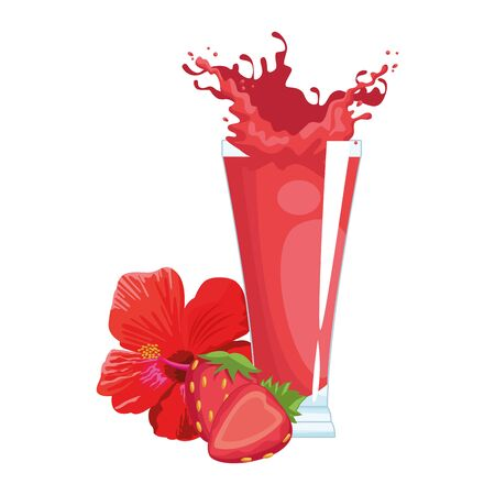 strawberry juice and fruit with tropical flower over white background, vector illustration