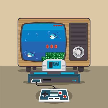 video game pixelated console and old tv vector illustration design Stock fotó - 133973793