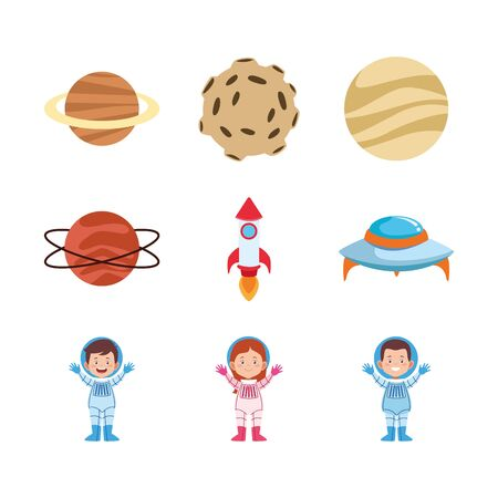 icon set of cartoon astronauts and planets over white background, vector illustration 일러스트