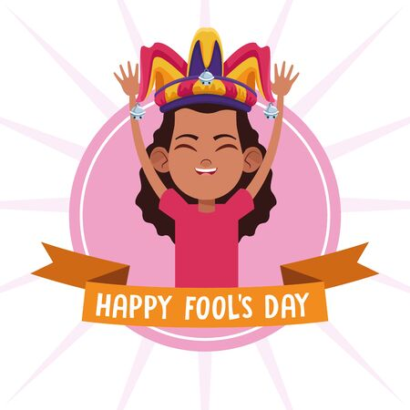 April fools day girl with jester hat cartoons vector illustration graphic design