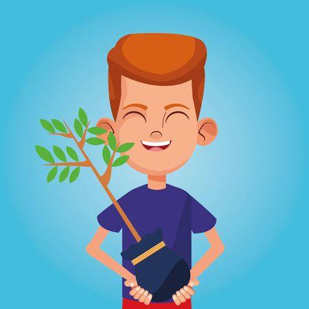 Boy smiling with plant cartoon blue background vector illustration graphic design 일러스트