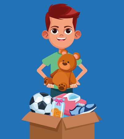 Kid donation charity cartoon boy with toys in box vector illustration graphic design