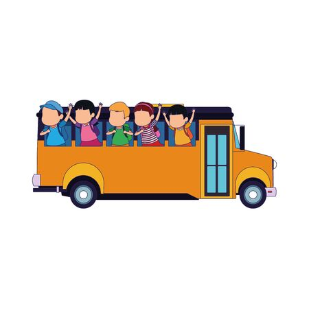 side view of school bus with happy kids icon over white background, vector illustration